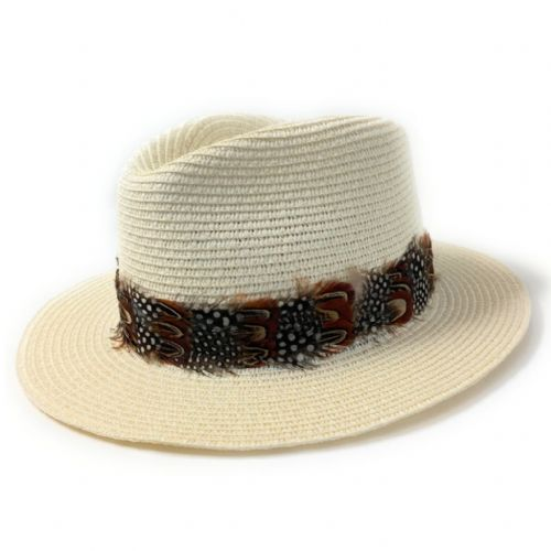 Ladies Panama Style Summer Hat with Country Feather Wrap - Cream - Shurdington